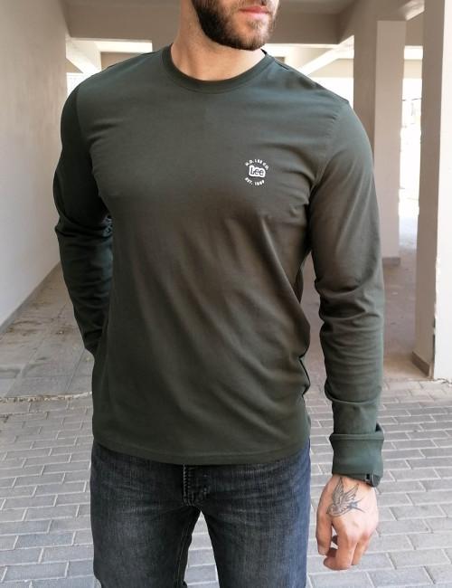 Lee LS Patch Logo Tee ανδρικό χακί μακρυμάνικο μπλουζάκι L60RFQOJ