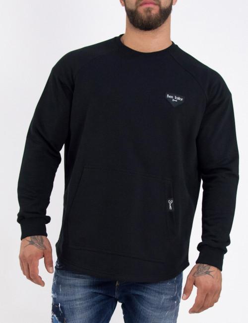 Ανδρικό μαύρο βαμβακερό μονόχρωμο φούτερ Ben Tailor 2157