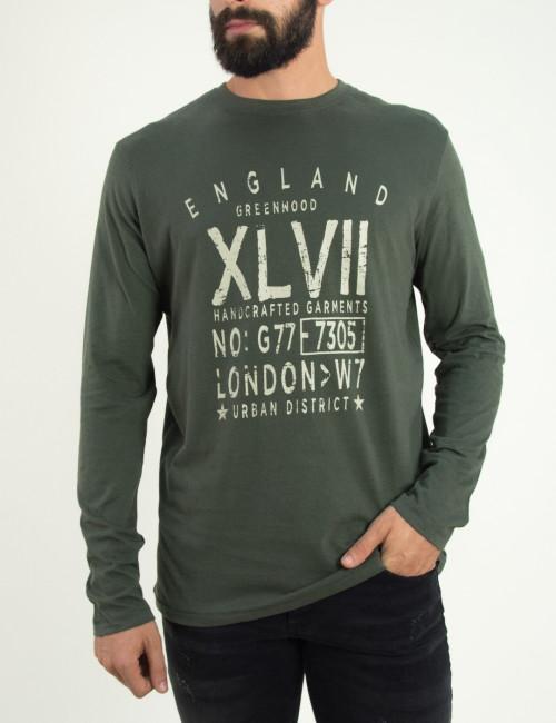 Ανδρική χακί λεπτή μακρυμάνικη μπλούζα Green Wood 02K900682