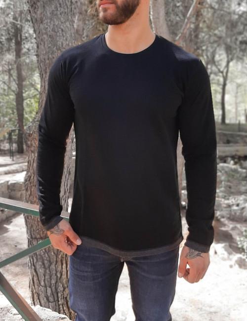 Ανδρική μαύρη μακρυμάνικη μπλούζα Everbest 20094