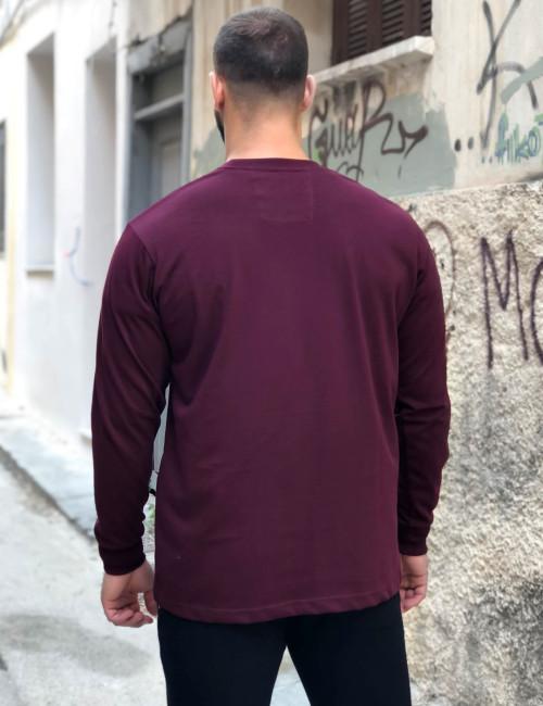 Ανδρική μπορντό βαμβακερή μπλούζα Plus size Everbest 211026F
