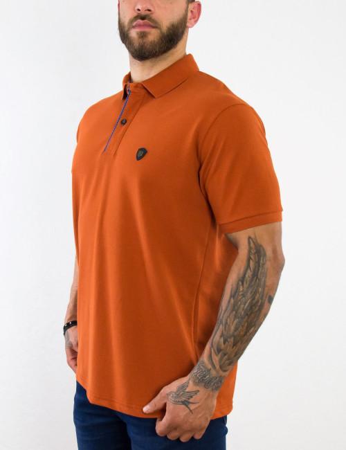 Everbest ανδρική πορτοκαλί Polo μπλούζα Plus Size 212849P