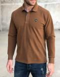 Ανδρική κάμελ Polo μακρυμάνικη μπλούζα Plus size Everbest 211017G