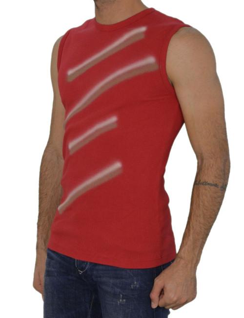 Ανδρική ριπ αμάνικη μπλούζα κόκκινη 025279