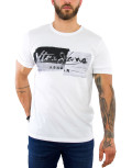 Ανδρικό λευκό Tshirt βαμβακερό τύπωμα 06447L