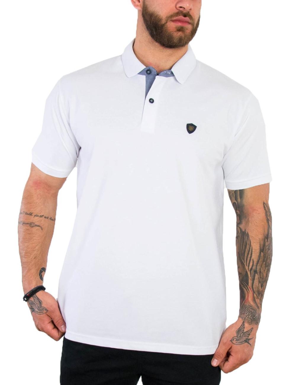 Everbest ανδρική λευκή Polo μπλούζα Plus Size 212838