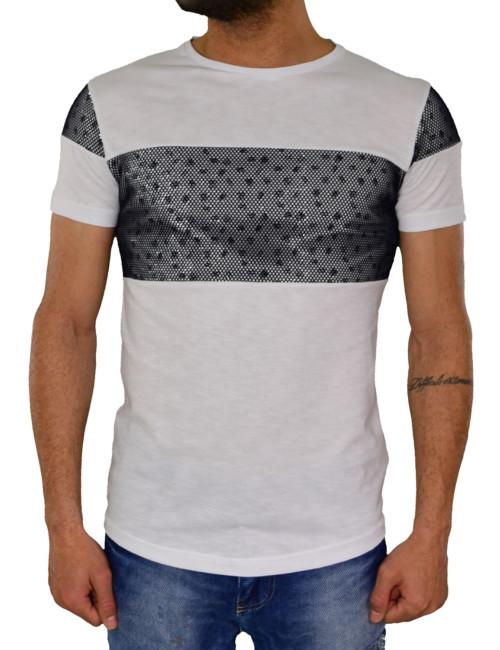 Ανδρικό T-shirt GioS λευκό με δίχτυ 920417G