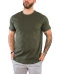 Everbest ανδρικό χακί βαμβακερό T-shirt 212905A