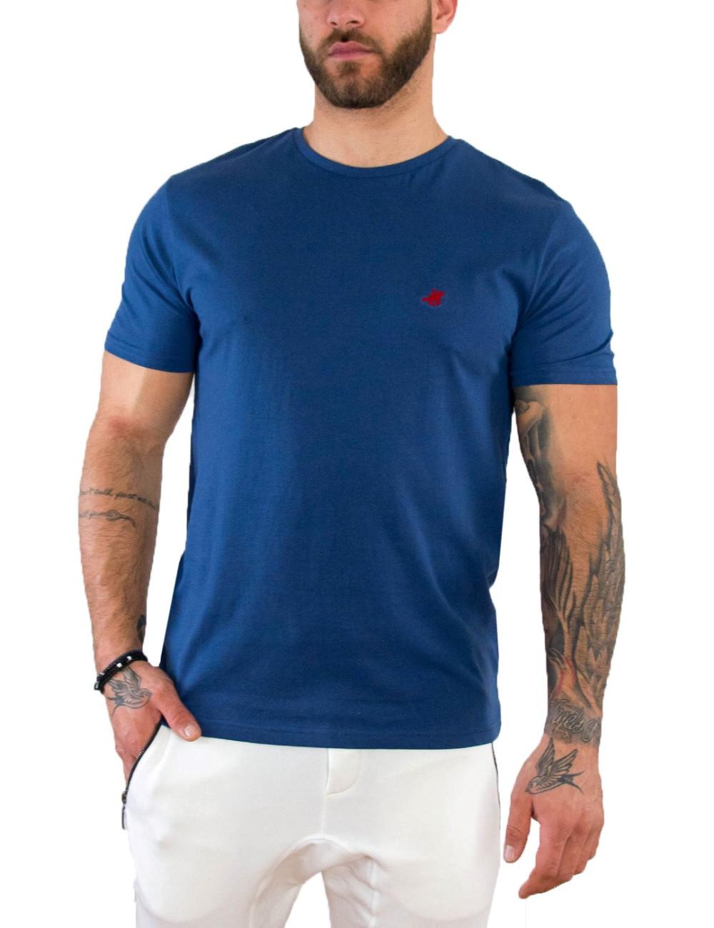 US Grand Polo Ανδρική μπλέ κοντομάνικη μπλούζα UST031