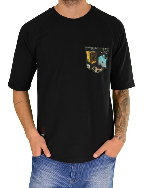 Ανδρικό κοντομάνικο Mesh and Co μαύρο φούτερ 05209