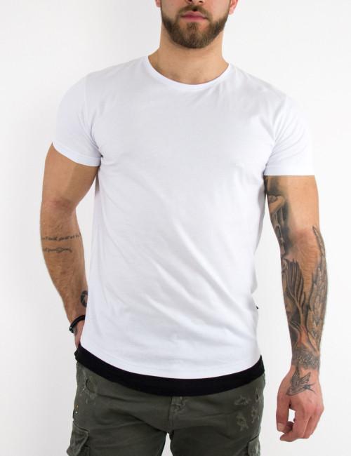 Ανδρική λευκή κοντομάνικη μπλούζα διχρωμία 4465W