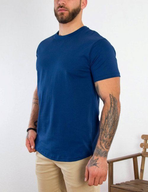 Everbest ανδρικό μπλε βαμβακερό T-shirt 212905B