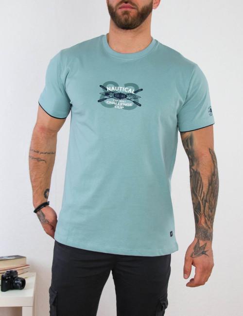 Everbest ανδρικό σιέλ Plus Size Tshirt με τύπωμα 212805S