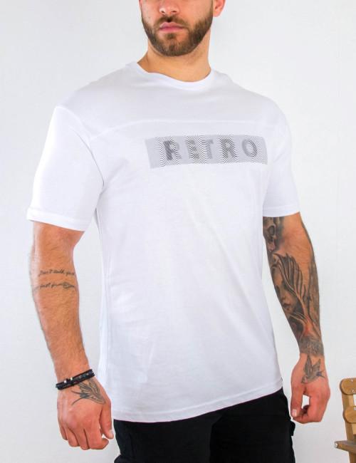 Ανδρικό λευκό κοντομάνικο Tshirt με τύπωμα 22986C