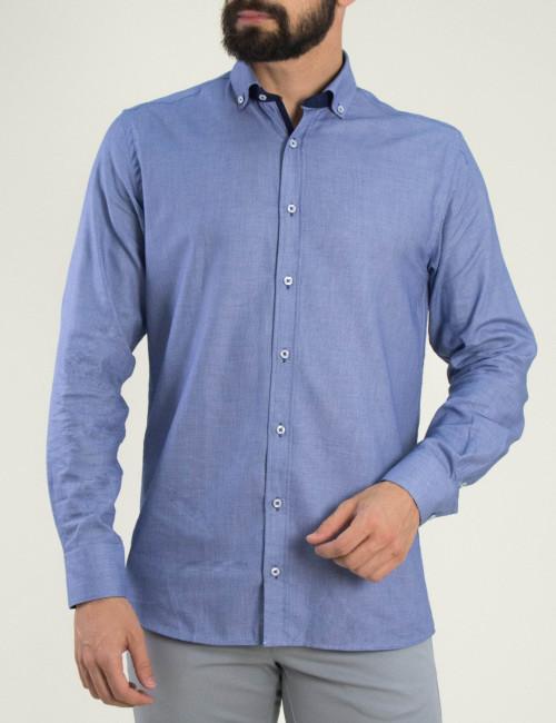 Ανδρικό σιέλ πουκάμισο με μικροσχέδιο Truzi 0191209
