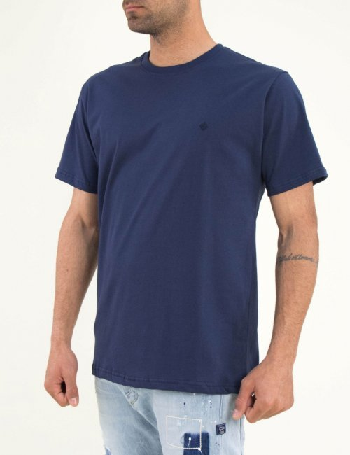 Ανδρικό μπλε Tshirt μονόχρωμο Plus size 19500Q