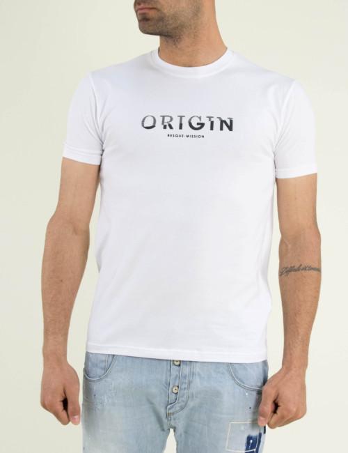 Ανδρική λευκή κοντομάνικη μπλούζα τύπωμα ελαστική 19632
