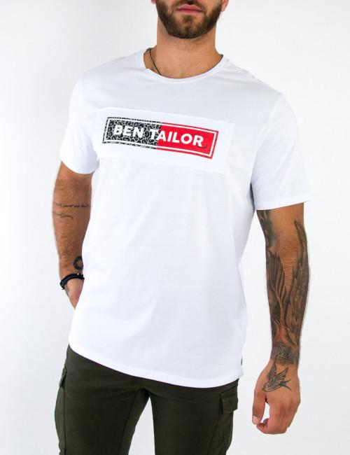 Ανδρικό λευκό Hustler Tshirt τύπωμα Ben Tailor 5101