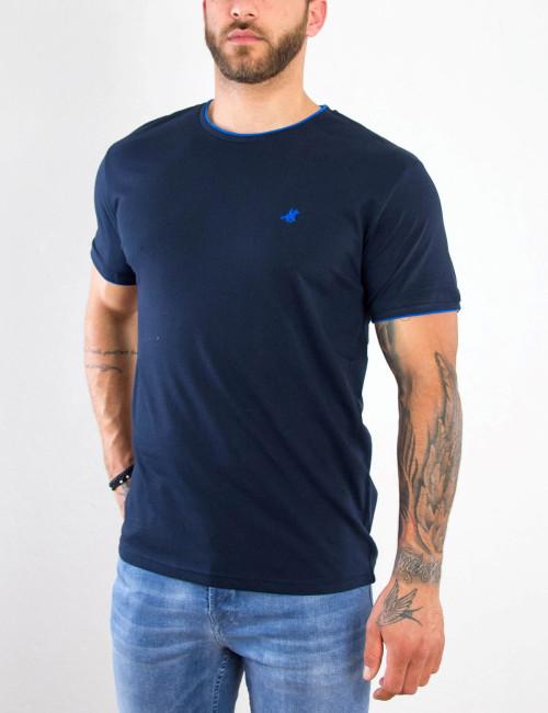 US Grand Polo Ανδρικό navy blue T shirt με διχρωμία UST036