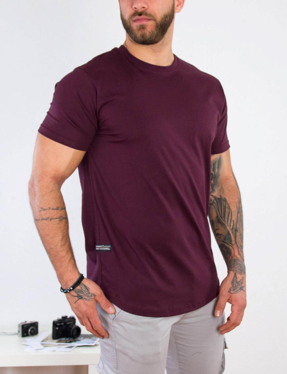 Everbest ανδρικό μπορντό βαμβακερό T-shirt 212905C