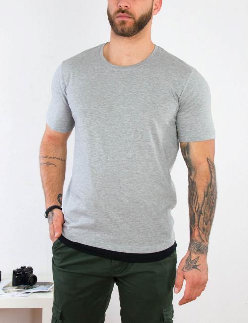 Ανδρική γκρι κοντομάνικη μπλούζα διχρωμία 4465B