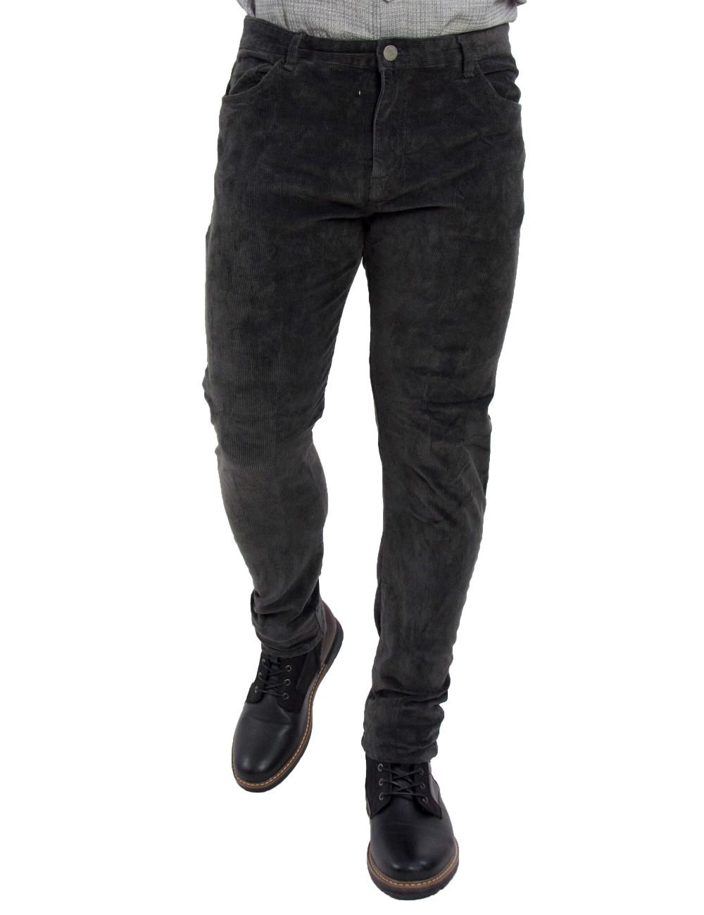 Ανδρικό γκρι κοτλέ παντελόνι ελαστικό Bread & Buttons 801180