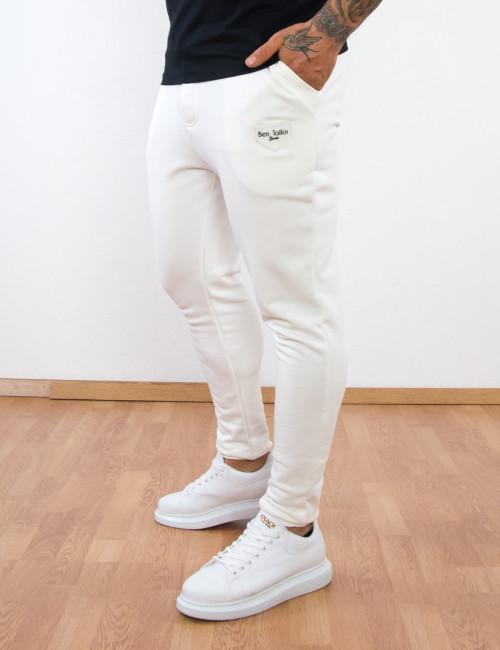 Ανδρική λευκή φόρμα με λάστιχο Ben Tailor Premium 5157