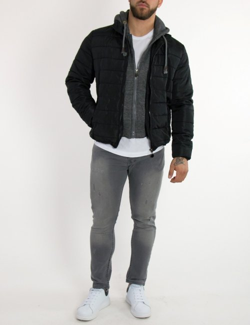 Ανδρικό γκρι τζιν παντελόνι με φθορές και ξέβαμμα DR3063