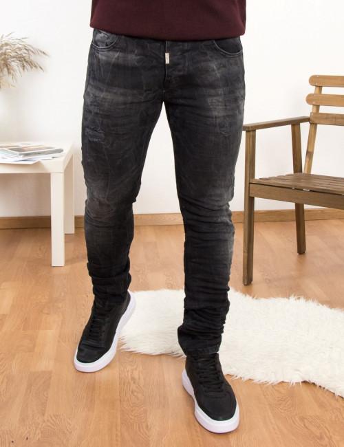 Profil ανδρικό μαύρο τζιν παντελόνι με φθορές 3029