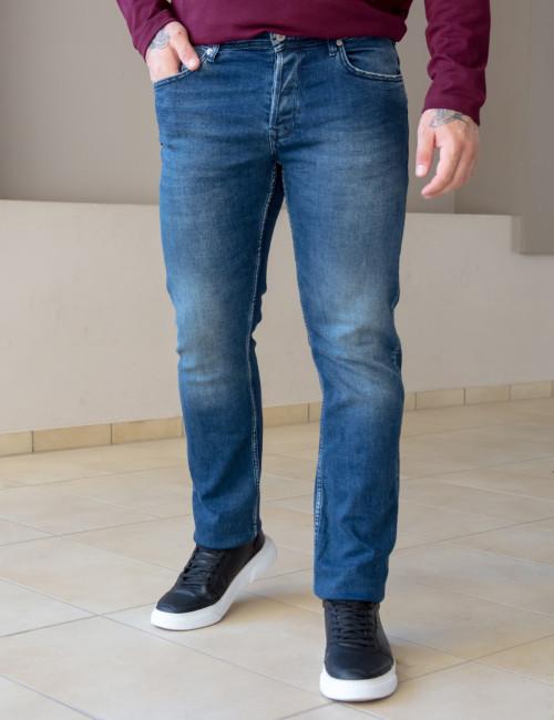 Ανδρικό μπλε  τζιν παντελόνι με ξέβαμμα Plus Size GB4754