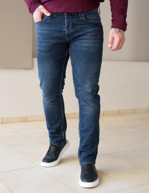 Ανδρικό μπλε τζιν παντελόνι με ξέβαμμα Plus Size GB4753