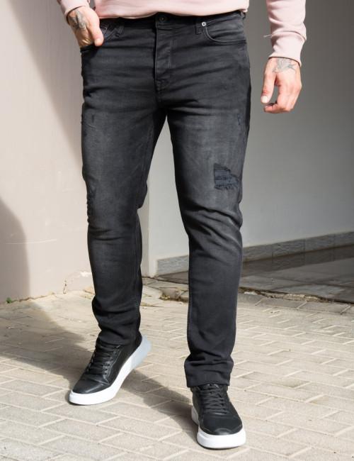 Ανδρικό μαύρο τζιν παντελόνι με σκισίματα GB4784