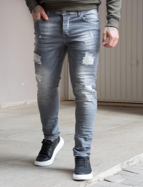 Ben Tailor Jean Anarchy ανδρικό γκρι τζιν πεντελόνι με φθορές 201210
