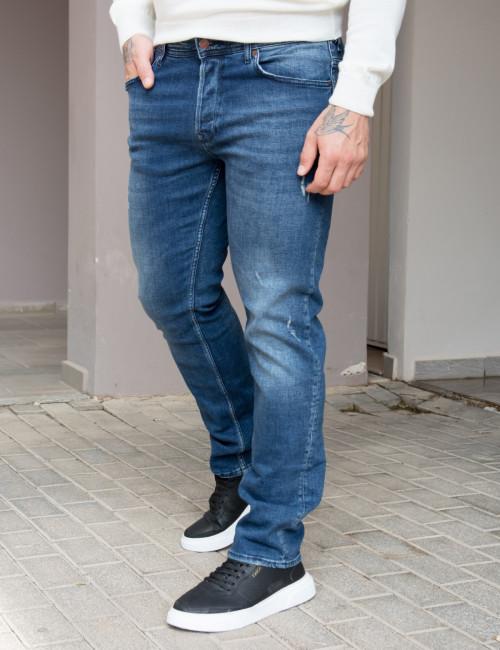 Ανδρικό μπλε τζιν παντελόνι με σκίσιμο Plus Size GB4754D