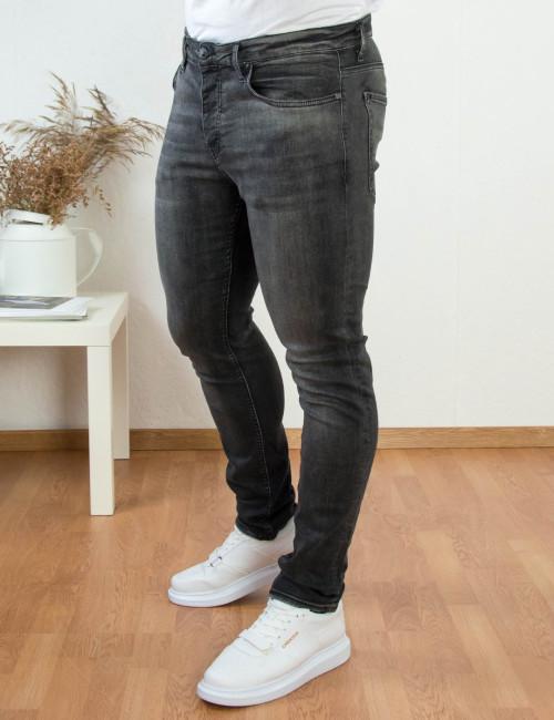 Ανδρικό γκρι ελαστικό τζιν παντελόνι με ξεβάμματα HD4447