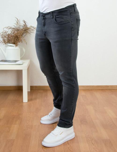 Ανδρικό ανθρακί τζιν παντελόνι με ελαφρύ ξέβαμμα DR707