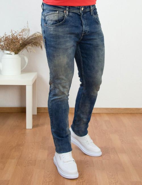Ανδρικό μπλε τζιν παντελόνι με ξεβάμματα HD3944
