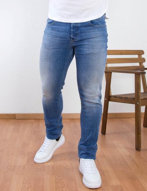 Ανδρικό μπλε τζιν παντελόνι ξεβάμματα Trial 21 Simon A