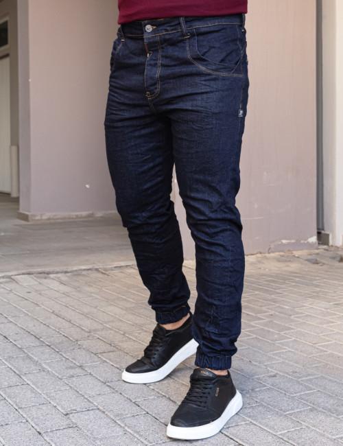 Profil ανδρικό μπλε σκούρο τζιν παντελόνι με λάστιχο 901021