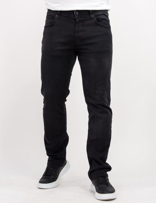 Ανδρικό μαύρο τζιν παντελόνι με ξέβαμμα Plus Size GB4820