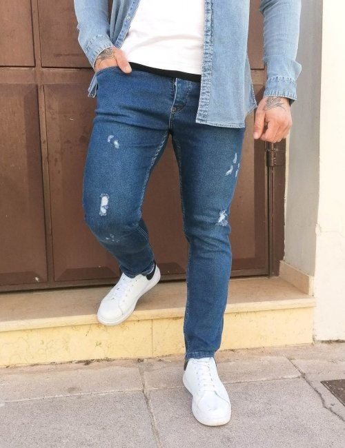 Ανδρικό μπλε τζιν παντελόνι με φθορές DR4081