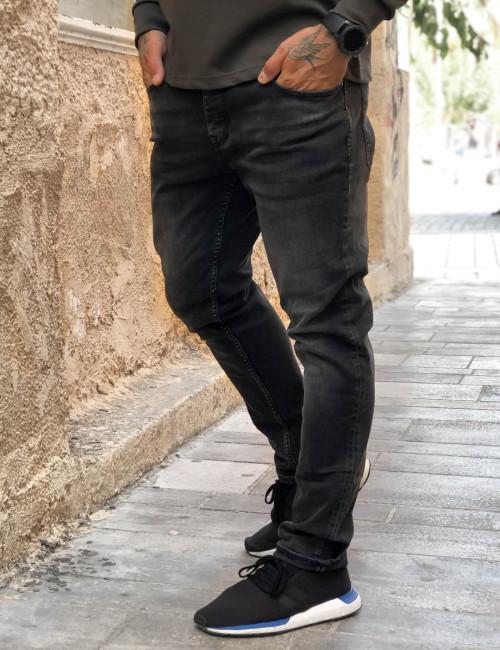 Ανδρικό ανθρακί τζιν παντελόνι με ξέβαμμα GB4365