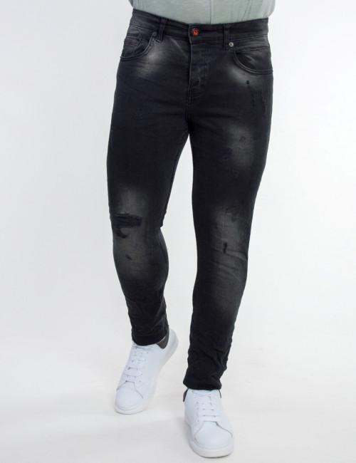 Ανδρικό μαύρο τζιν παντελόνι με φθορές 80102