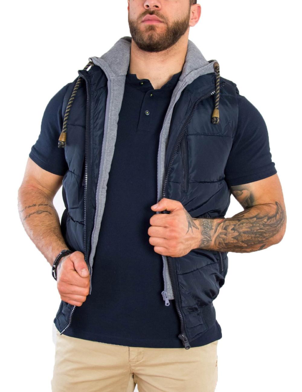 Ανδρικό μπλέ αμάνικο Jacket κουκούλα 833380