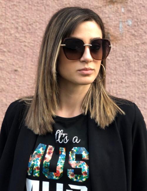 Γυναικεία καφέ ντεγκραντέ γυαλιά ηλίου με καφέ σκούρο σκελετό Premium S1105N