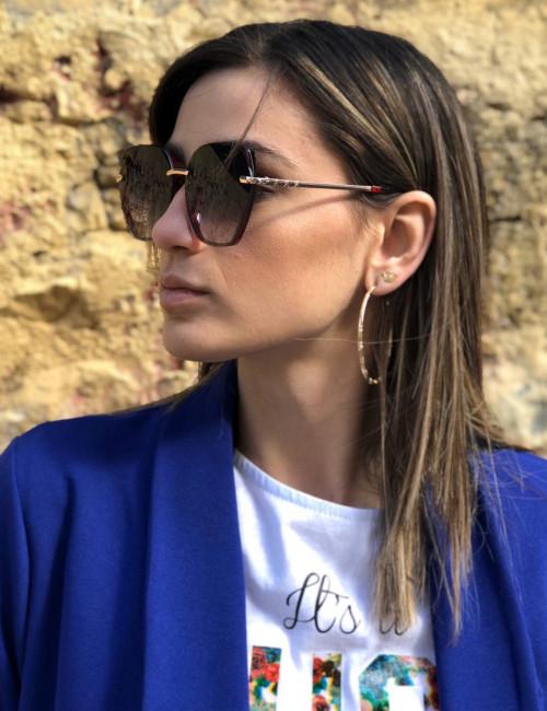 Γυναικεία μαύρα ντεγκραντέ γυαλιά ηλίου με κόκκινο σκελετό Premium S1105R
