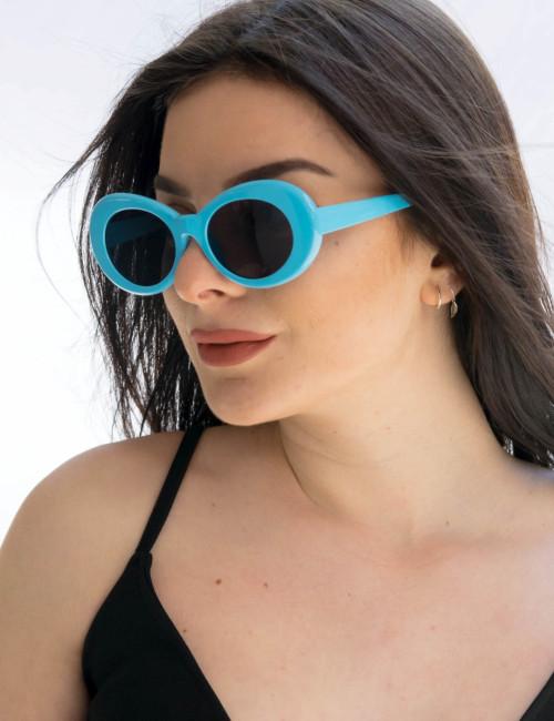 Γυναικεία γαλάζια οβάλ γυαλιά ηλίου μονόχρωμα Luxury S5700T