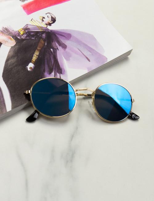 Γυναικεία μπλε οβάλ γυαλιά ηλίου καθρέπτης Luxury LS3063
