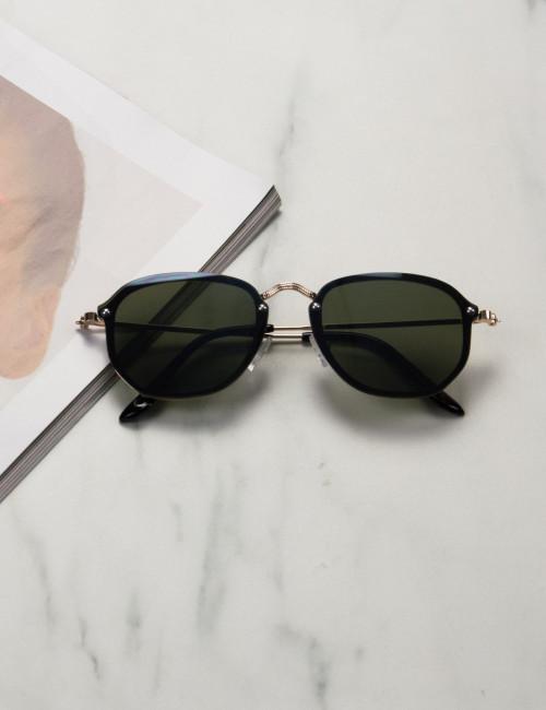 Γυναικεία πράσινα γυαλιά ηλίου με χρυσό μεταλλικό σκελετό Luxury S7127G