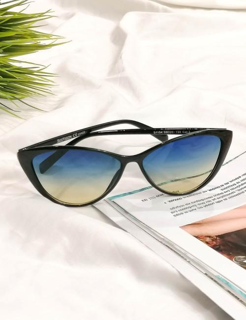 Γυναικεία μπλε ντεγκραντέ γυαλιά ηλίου με μαύρο κοκκάλινο σκελετό Luxury S1154B